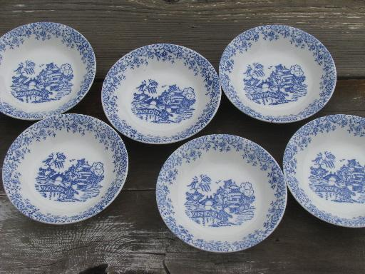 6 old Blue Willow pattern fruit bowls vintage American