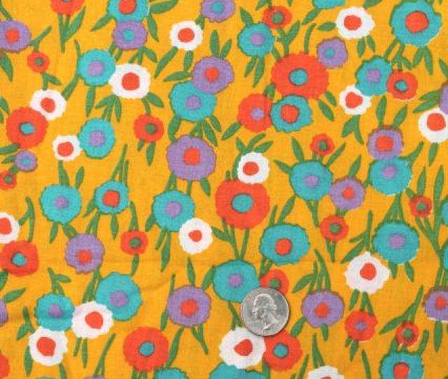 60s Vintage Fabric Retro Flowered Print Cotton W Flowers On Mustard Gold