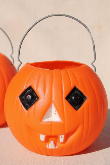 70s 80s Vintage Plastic Halloween Pumpkins Little Trick