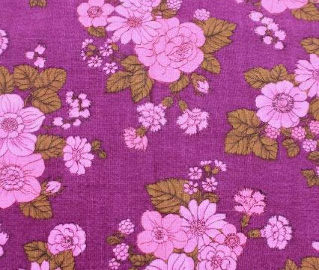 70s Vintage Print Fabric Retro Magenta Pink Flowers On Raspberry Purple Linen Weave Cotton Fabric