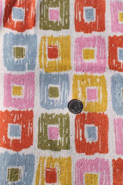 80s vintage fabric linen weave retro pastel pink blue