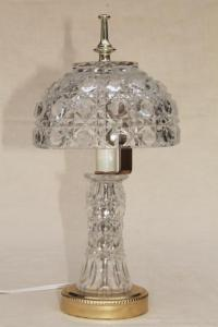 90s vintage heavy crystal clear glass table lamp, vase ...