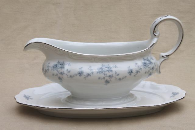 Blue Garland china gravy boat w attached under plate