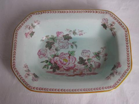 Calyx Ware Old Antique Adams England China Bowl Peonies