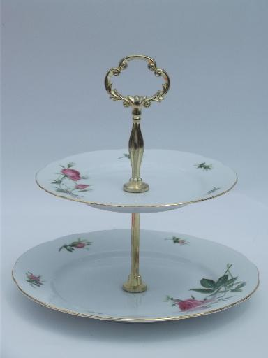 Christineholm Pink Rose Two Tier Serving Stand Tiered China Cake Plate