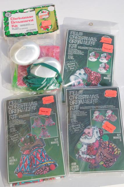 Christmas Ornaments Kits Sealed Packages Satin Balls Felt Shapes W Beaded Sequins