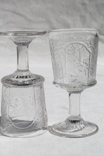 EAPG Antique Pressed Glass Wine Glasses Canadian Pattern