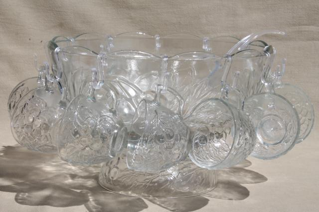 Gibson Glass Punch Bowl Amp Cups Set Concord Harvest Fruit