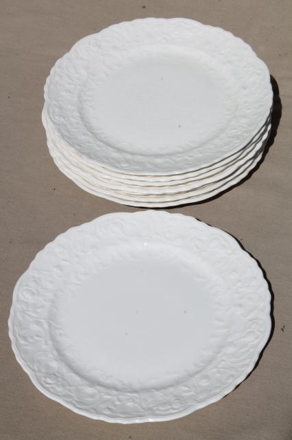 Pope Gosser Rose Point vintage embossed floral border china plates plain antique white creamware