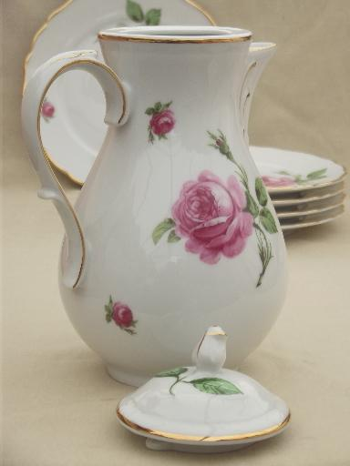 Tirschenreuth Bavaria Pink Roses China Tea Or Coffee Pot Cream Amp Sugar Plates