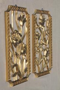 Turner wall art set, vintage gold rococo plastic wall ...