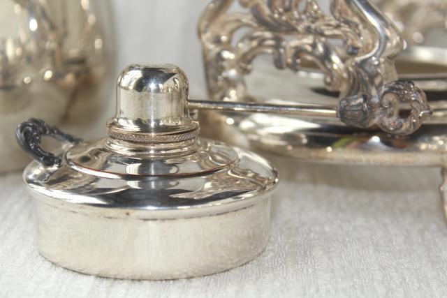 Antique 1920s Vintage Silver Plate Over Copper Tea Set W Tilt Kettle Coffee Pot