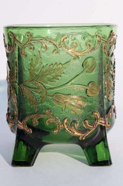 antique EAPG green glass celery vase Floradora pattern pressed glass bohemian gold
