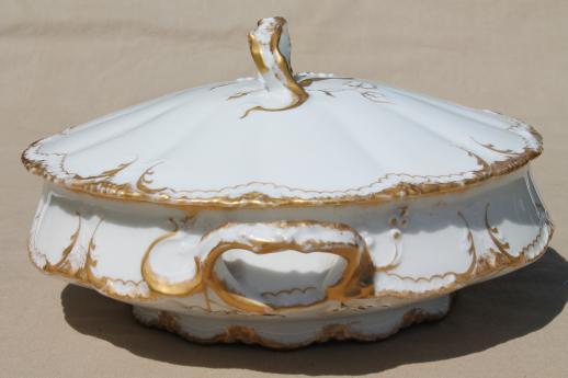 antique Haviland Limoges gold  white porcelain tureen or