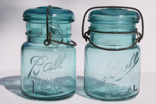 antique blue Ball mason jar half dozen vintage Ball Ideal