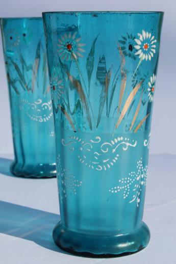 Antique Blue Glass Lemonade Set Tall Pitcher Amp Tumblers W