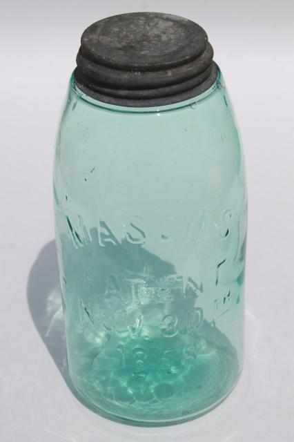 Antique Blue Green Glass Mason Jar Old Zinc Lid 2 Qt