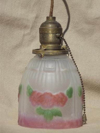 antique brass pendant light w painted puffy glass lamp