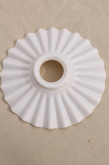 Antique Crimped Flat Milk Glass Reflector Lamp Shade For