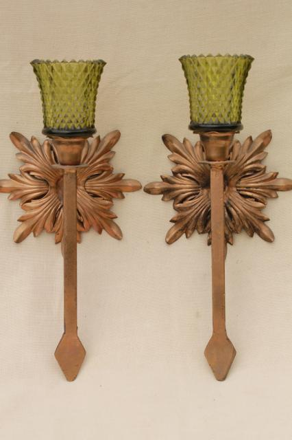 Antique Gold Wrought Iron Rosettes Wall Sconce Set Pair
