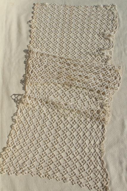 Antique Handmade Lace Table Runner Early 1900s Vintage Tatting Tatted Lace
