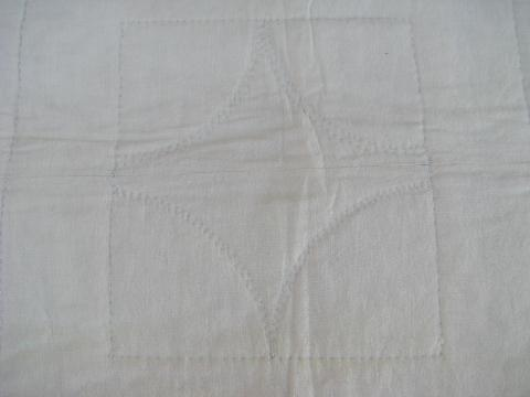 antique hand-stitched whole cloth quilt, all white vintage