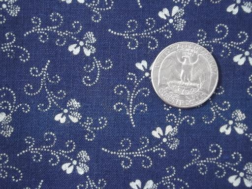 Antique Indigo Blue Amp White Print Cotton Fabric Vintage