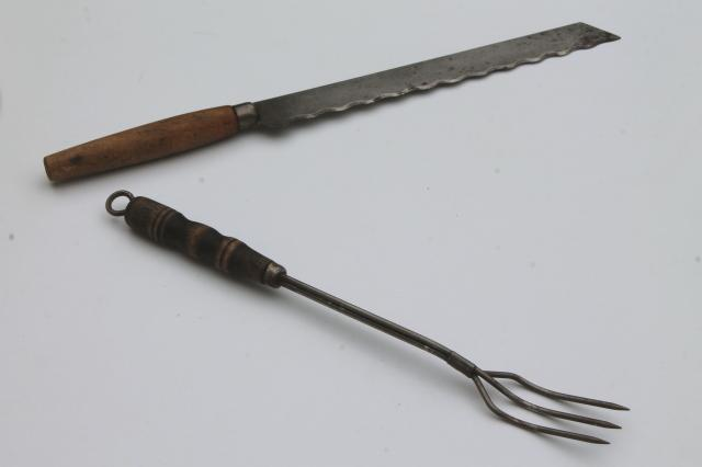 Antique Knife And Fork Toast Fork W Wood Handle