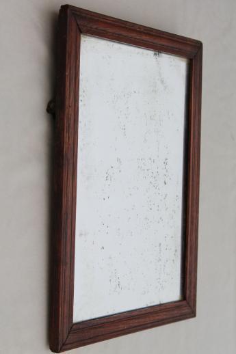 Antique Plank Back Oak Frame Shaving Mirror Primitive