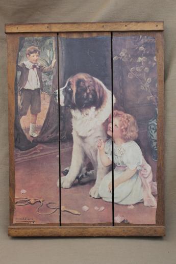 antique reproduction print girl  St Bernard dog plank