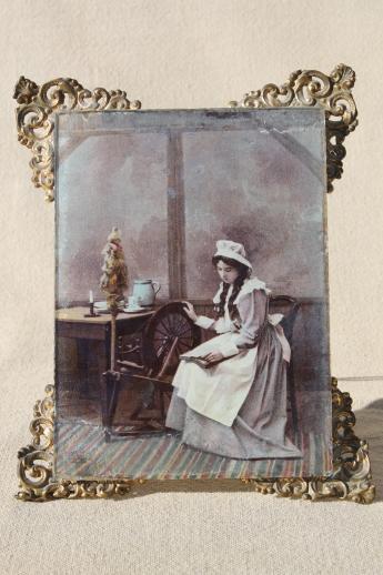 Antique Vintage Ornate Framed Tinted Photo Portrait Girl