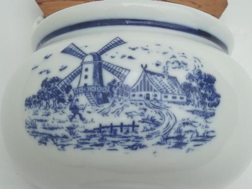 Blue Amp White China Salt Box Vintage Delft Style Dutch Windmills Scene