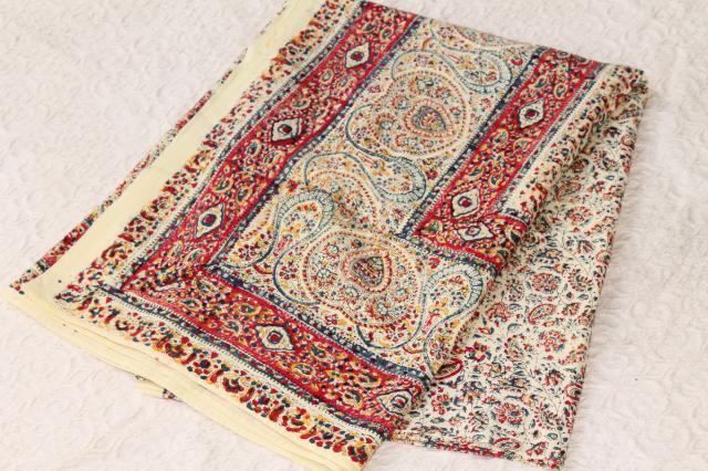 bohemian  hippie style Indian block print cotton fabric bedspread 70s vintage