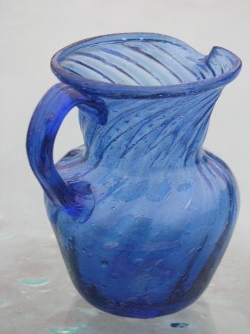 cobalt blue swirl handblown glass pitchers vintage Mexican art glass