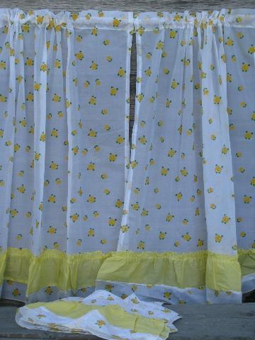crisp white kitchen curtains w yellow flocked flowers