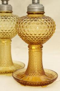 deco vintage amber yellow depression glass lamps, hobnail