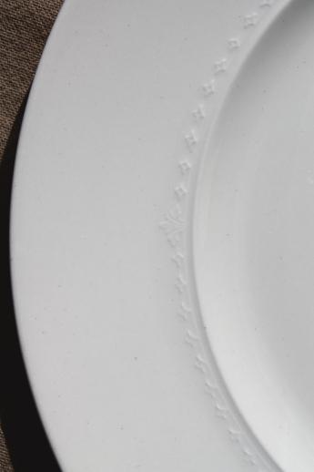 Embossed Edge Antique White China Dinner Plates 1930s Vintage Alfred Meakin England