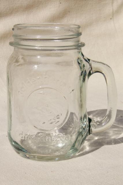 four pints vintage Golden Harvest mason jar mugs drinking