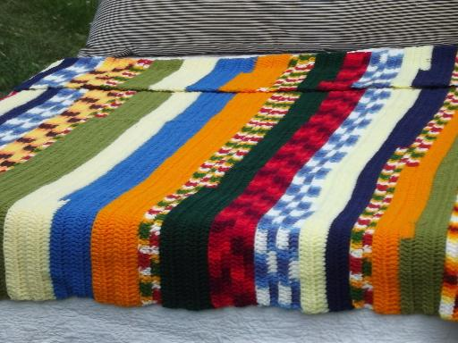 Funky Glassware Funky Stripes Retro Patchwork Scrap Yarn Crochet Afghan