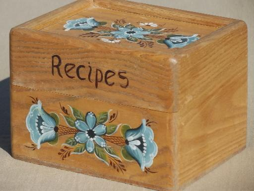 painted tole oak box wooden recipe full of vintage recipes cards