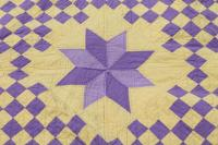 handmade vintage cotton quilt star pattern in lemon yellow ...