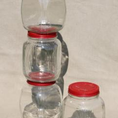 Red Kitchen Rugs White Island Hoosier Vintage Glass Jars W/ Painted Metal Lids ...