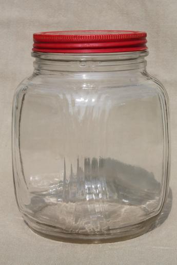 Hoosier Vintage Glass Jars W Red Painted Metal Lids