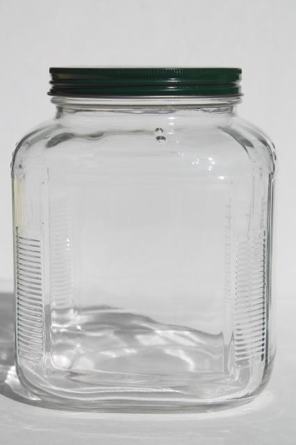 Large Old Square Glass Jar W Metal Lid Store Counter