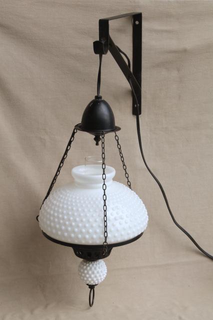 large vintage milk glass shade hanging lamp antique oil