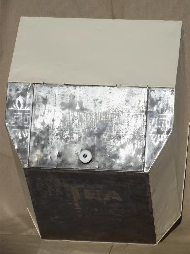 Large Vintage Tin Tea Chest Old Painted Zinc Shipping