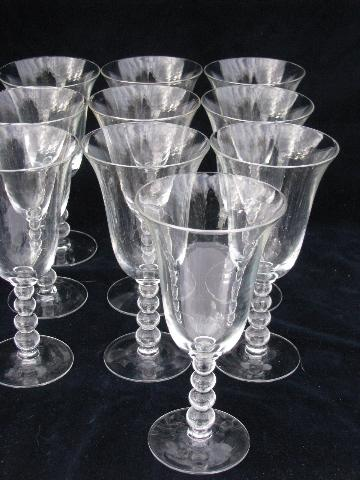 lot of 10 water glasses or wine goblets vintage Imperial