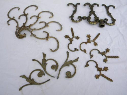Lot Of Vintage Ornate Brass Chandelier Prism Armsparts For