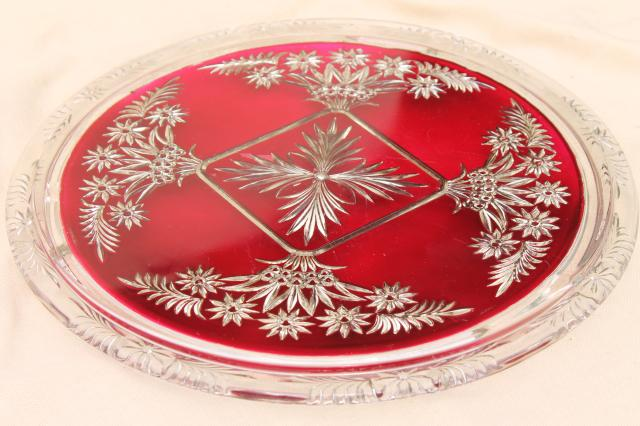 mercury silver ruby red glass plateau plate or tray