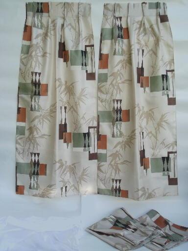 midcentury mod print barkcloth textured fiberglass drapes vintage 50s 60s